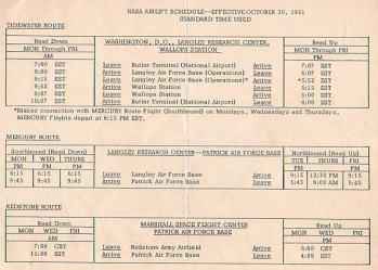 NASA Airlift schedule 1961/10